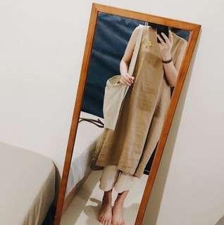 🚚 洋裝 | MUJI 無印良品 法國亞麻 無袖 V領 背心洋裝 長洋裝 M 號 大地色 棕色 深亞麻色 水洗亞麻 有實穿照