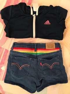 二手(共3件)6-7歲 Levi's shorts 牛仔褲 短褲 and  adidas 薄款外套 jacket paul frunk small paul 格子西裝外套 名牌 童裝 女童