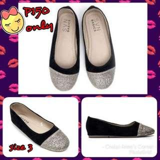 BLACK SHOES WITH GLITTER FOR KIDS
