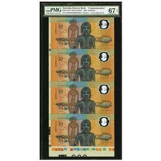 Australia Reserve Bank of Australia $10 1988 Polymer Uncut Sheet of Four  - PMG 67