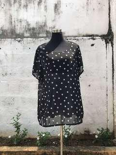 PRELOVED: Plus Size Polka Top (L-XL)
