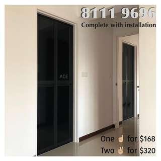 Aluminum bi-fold door for bathroom or kitchen entrance