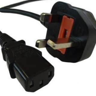 UK Standard 3 Pin Plug Power Cable
