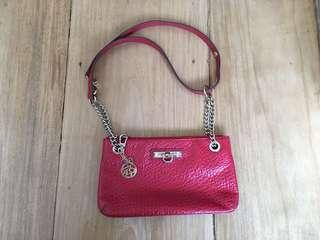DKNY red leather bag