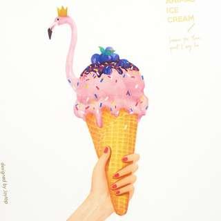 Animal Ice Cream Spiral Sketchbook A4