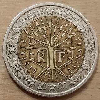 2000 2 Euro Coin, France Design