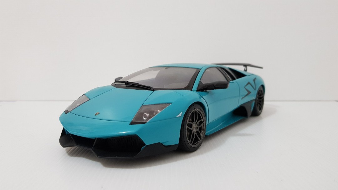 1 18 Autoart Lamborghini Murcielago Sv Lp670 4 Turquoise Blue