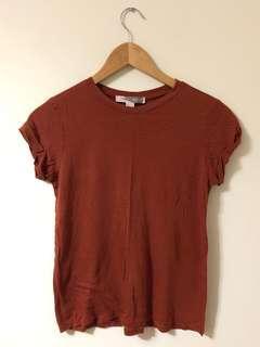 Red Brown Earth Tone Plain T-Shirt