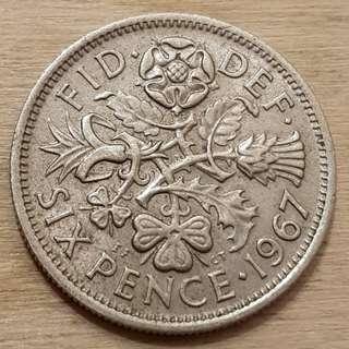 1967 Great Britain Queen Elizabeth II 6 Pence Coin