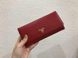 Authentic Prada long wallet Red