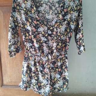 Pull & bear floral jumpsuit baby doll