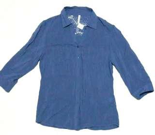 Blue Polo (with knitted design)