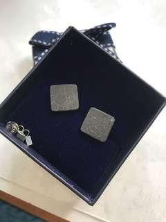 雲石紋大正方形耳環(黑色)
