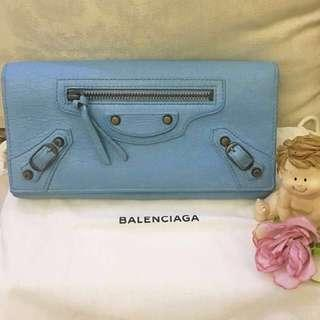 Authentic BALENCIAGA Classic Long Wallet Baby blue