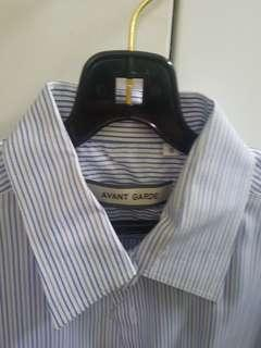 Short Sleeves Brown/Blue Stripe Shirt (Size 16)