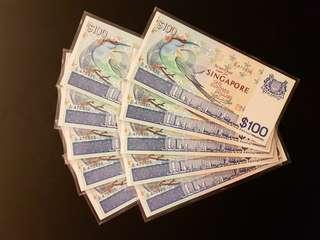 Bird $100 banknotes 10 runs UNC