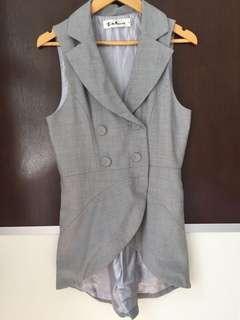 Gray grey blouse 西裝款 K2 灰色 黑白灰 燕尾款