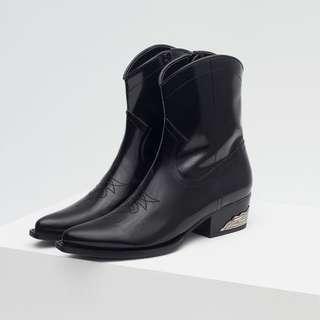 Zara Black Cowboy Ankle Boots