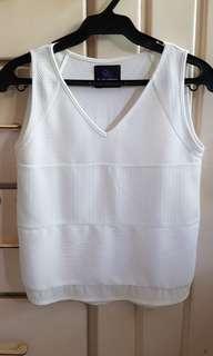 Plains and Prints White Sleeveless Blouse