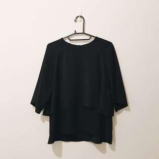 🚚 短袖上衣 | MEIERQ 黑色 雪紡上衣 短袖上衣 波浪 蛋糕層