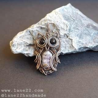 🚚 Amethyst copper wire wrapped owl pendant. Handmade. Local design. Lane22. Sensitive skin suitable. Free shipping.