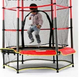 55 Inch Junior Kid Trampoline w/ Enclosure Safety Net Mesh Cover