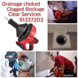 Drainage Clogged Blockage Choked use machine Clear Services contact us 91337203