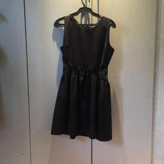 Lace Panel Little Black Dress