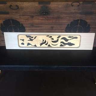 Phoenix wood carved panel