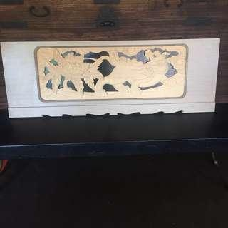 Foo Dog wood carved panel
