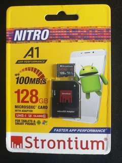 128GB Strontium MicroSDXC sd card. UHS-1 U3 CLASS10