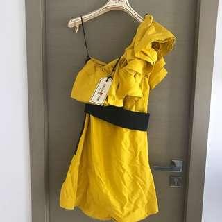 H&M x lanvin yellow ruffles cocktail dress 黃色晚裝裙