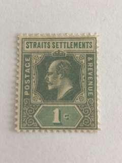 Straits settlement 1902 King Edward VII 1ct pale green mh