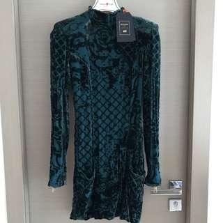 H&M balmain green velvet silk dress 綠色貼身裙
