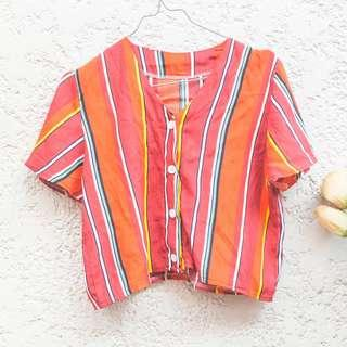 Bright-colored Buttoned Top (Guess-inspired Print)