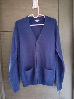 Uniqlo針織外套彩藍色細碼 全新