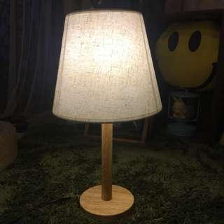 和式原木卧室床頭燈 麻布色LED