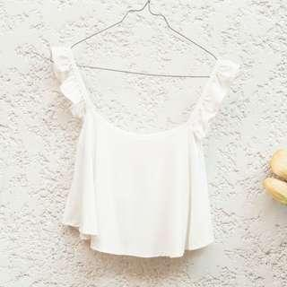 Two way frill crop top (can be worn as off-shoulder)