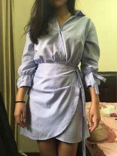 Wrap V neck blue stripes dress