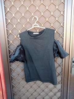 Black top with organza
