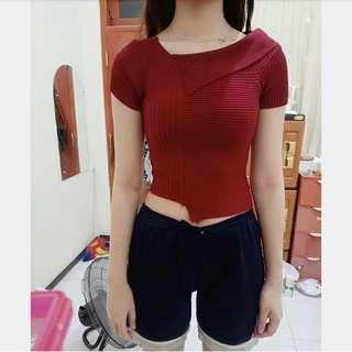 Maroon knit top