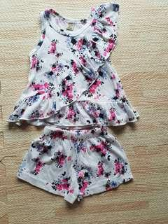 Baby girl floral shorts set
