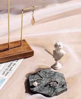 深色六角形大理石盤  飾品盤/拍照道具/大理石/居家擺設