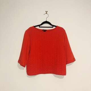 (S) H&M Red Boxy Tee Thick Material