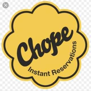 CHOPE new Signups