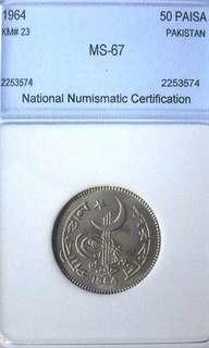 Coin Pakistan 50 Paisa Ms-67 Graded