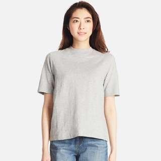 UNIQLO Women Slub High Neck Short Sleeve T-Shirt