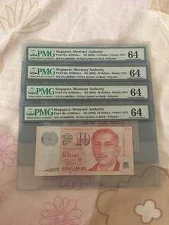 Liquidation Sale - Singapore Portrait Series $10 Polymer Banknote 4AA Lee Hsien Loong Signature PMG 64 UNC - $45 Each