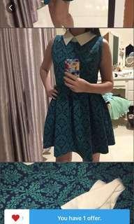 zara green dress #1010