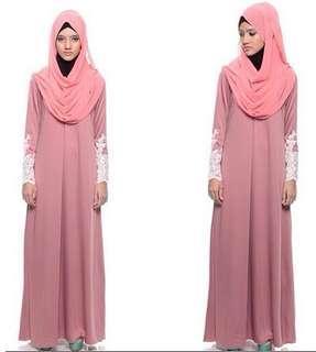 Calaqisya Ara Lacey Jubah Dress in Dusty Pink